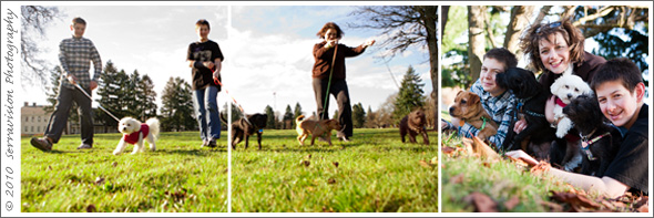 Creative Family portraits taken in Vancouver Washington with a mom, two boys and four dogs!