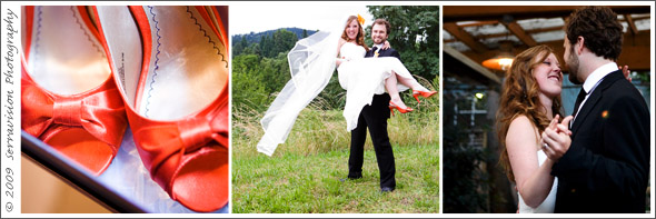 Orange shoes for these wedding photographs