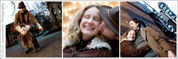 Theater lights add interest to this sweet couples' portrait session
