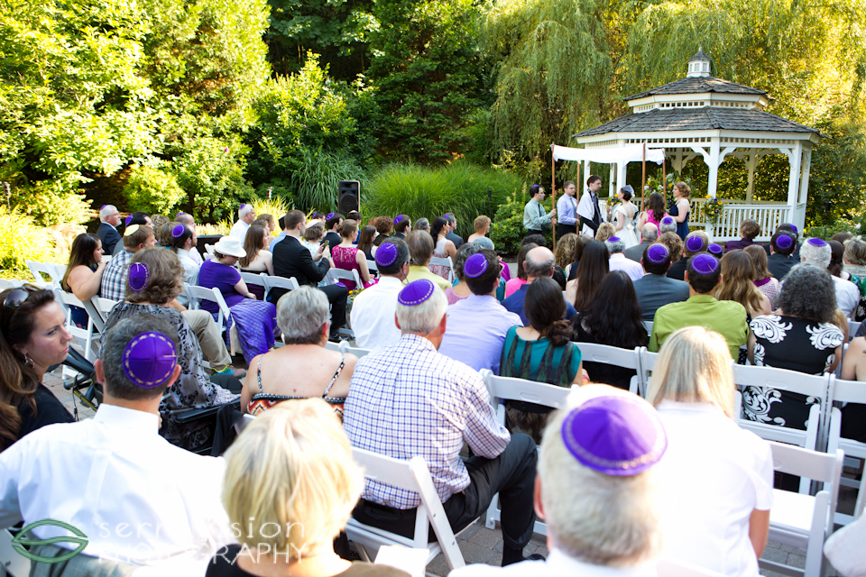 DIY Kippot on guests' heads during wedding ceremony