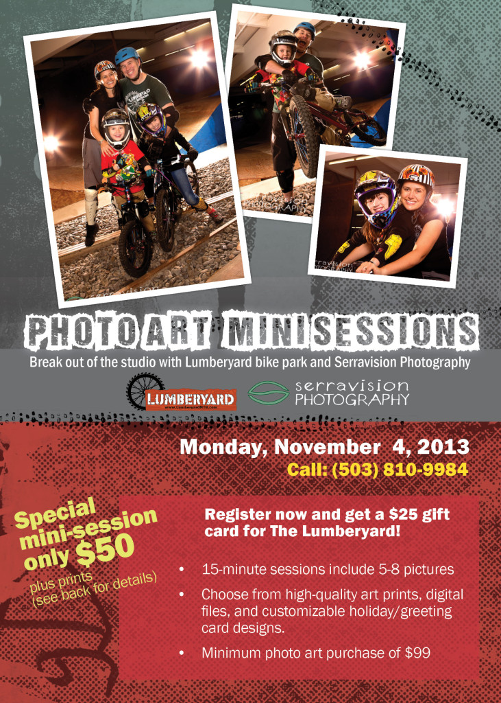 photo art mini sessions, in partnership with The Lumberyard Bike Park and Pub
