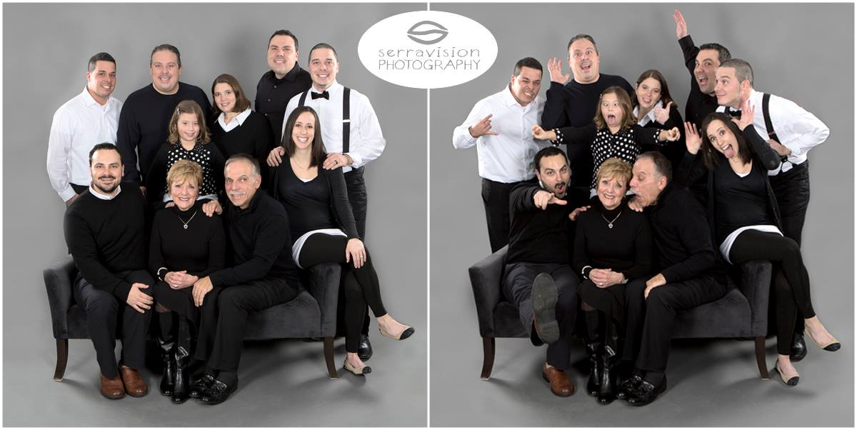 Extended Family Group Holiday Photo In the Studio