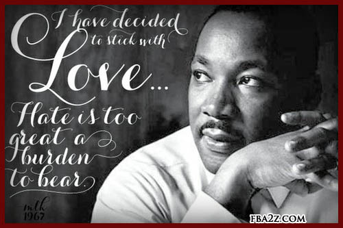 I have decided to stick with love.  Hate is too great a burden to bear.  MLK 1967