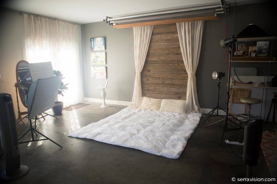 bedroom boudoir setup in photography studio