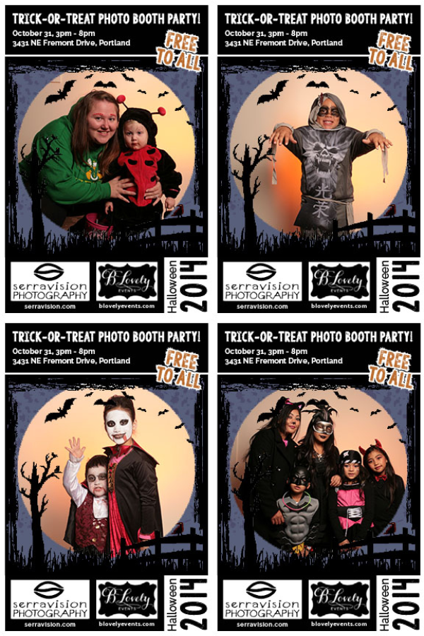 Four flyers advertising the photo booth at our portrait studio in Portland Oregon on Halloween