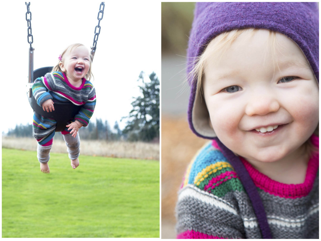 portrait of toddler and picture of her swinging on the swing set