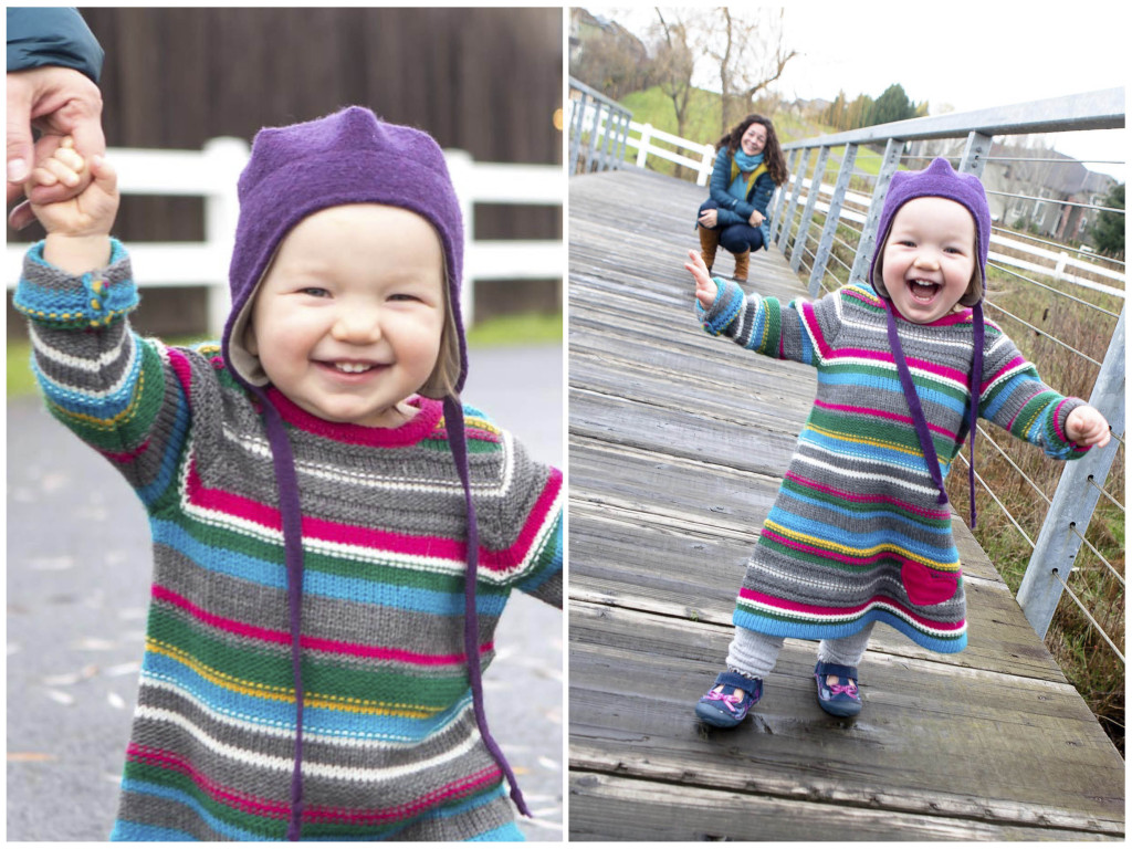photos of toddler taking her first steps during this photo session