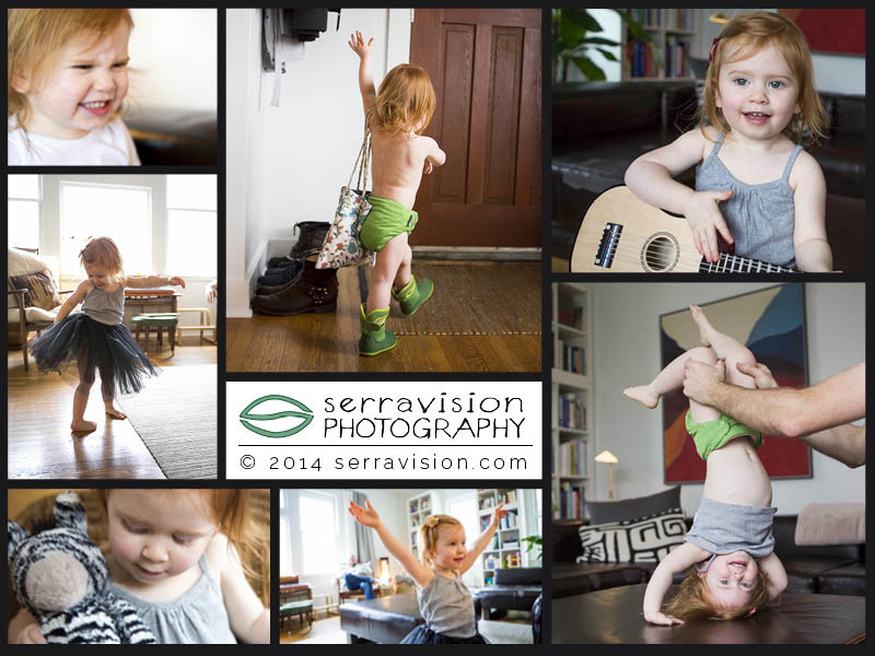 two-year-old playing and being herself at home in a photo session