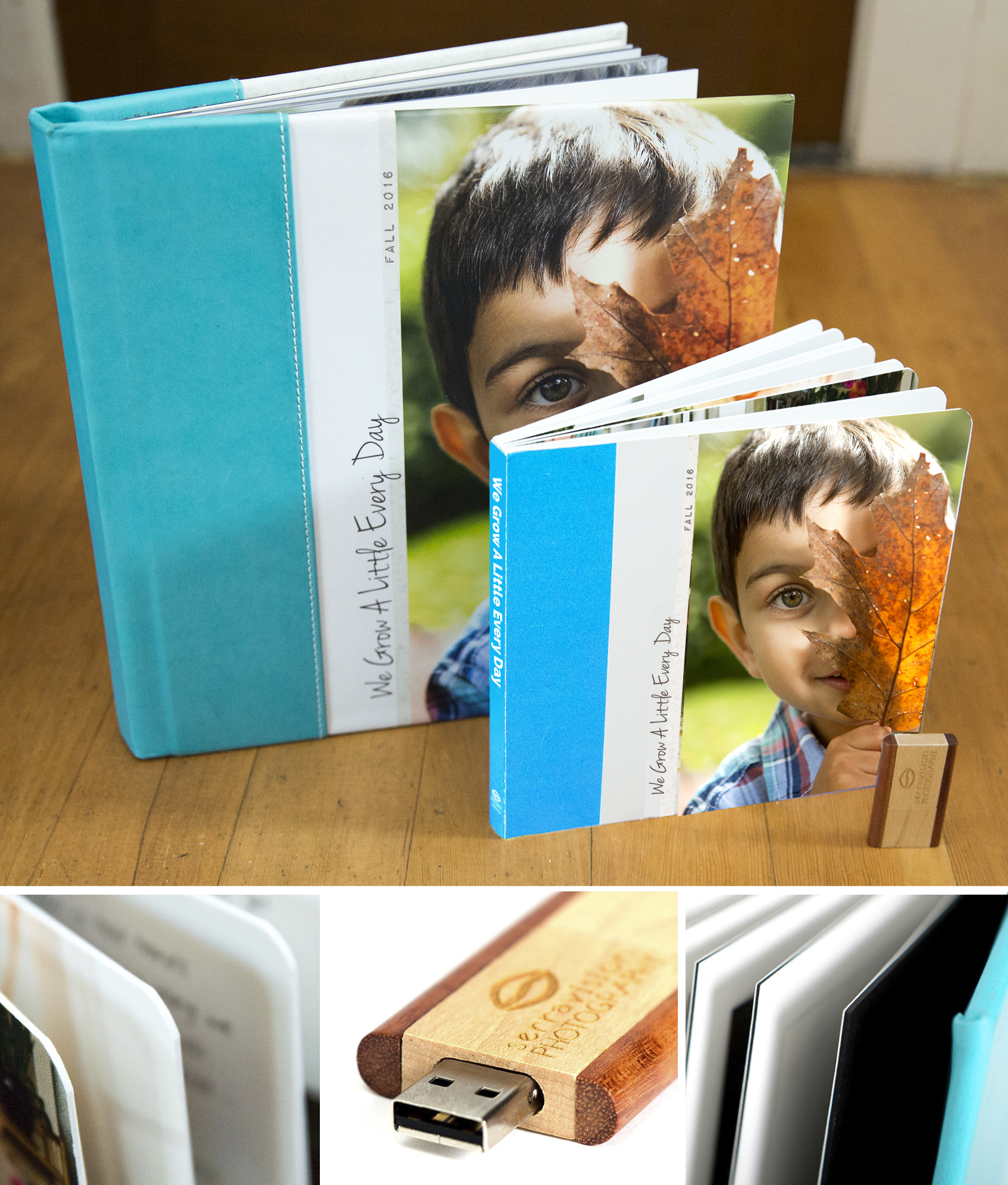 This photo shows in detail the three products clients receive with their storybook lifestyle photo session; a hard cover leather bound album storybook, a copy of their storybook in board book format, and a custom usb drive with all the digital files