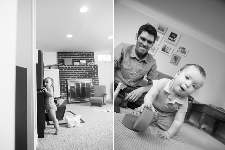 Two lifestyle photos of a toddler in his home playing