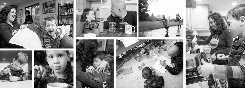 photo collage of lifestyle family pictures from portland photographer serravision photography