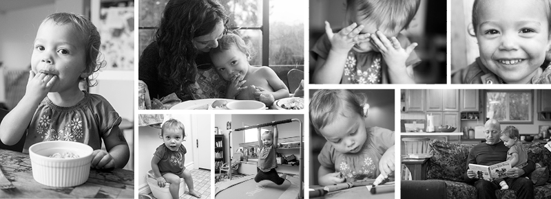 photo collage of lifestyle pictures from portland lifestyle photographer serravision photography focusing on the two year old girl