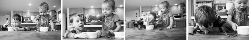 A young brother and sister eat soup together at the table. They do funny things like pouring soup into each other's bowls and slurping it up off the table!