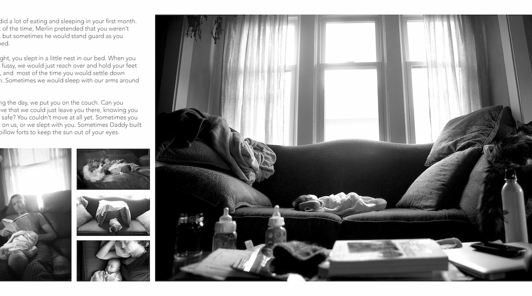 Draft of a spread in Emmett's newborn storybook that has been hanging out on my computer for over a year now...